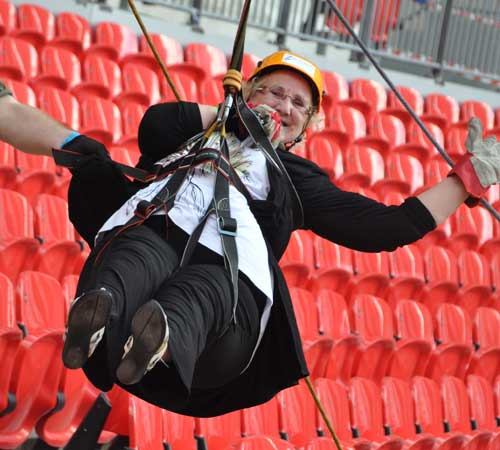 Blackpool Civic Trust Chairman Elaine Smith on the Wembley Zip Wire