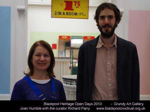 Joan Humble and Richard Parry at the Heritage Open Day - Grundy Art Gallery