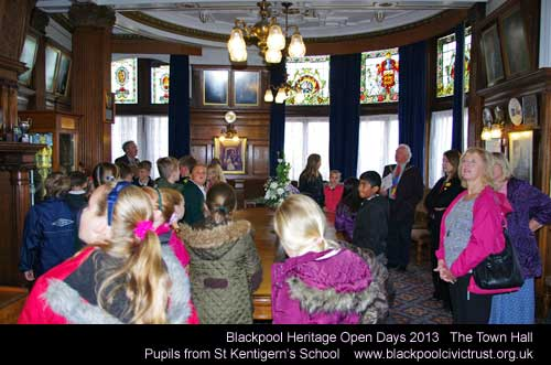 Blackpool Heritage Open Days 2013 - Town Hall with pupils of St Kentigerns