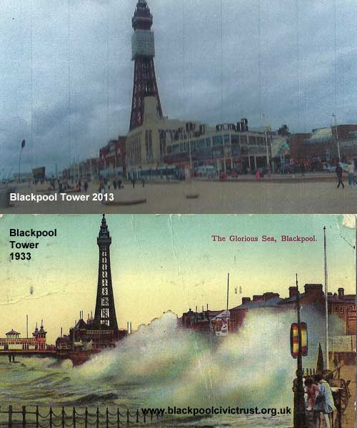 Blackpool Tower 1933 and 2013