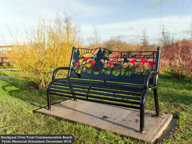 Blackpool Civic Trust Commemorative Bench at Fylde Memorial Arboretum