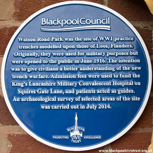 Watson Road Park Blue Plaque Blackpool